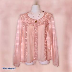Rewind Pink Blouson-Sleeve Blouse